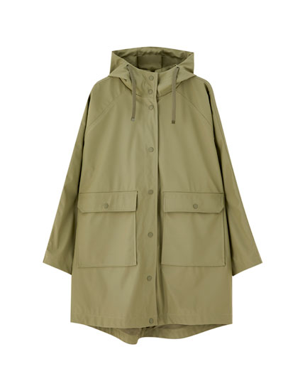 Oversized khaki raincoat