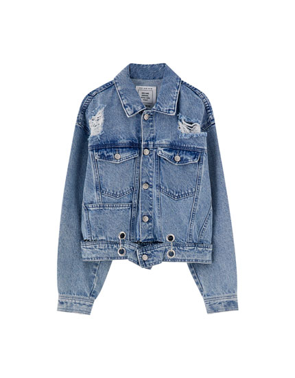 Denim jacket with eyelets