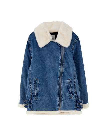 Lining Shearling amp;bear With Jacket Pull Faux Denim w7nFPSqn