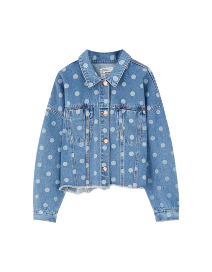 Polka dot denim jacket