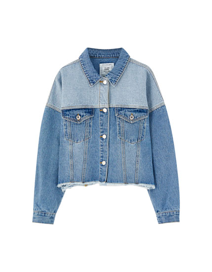 Colour block denim jacket