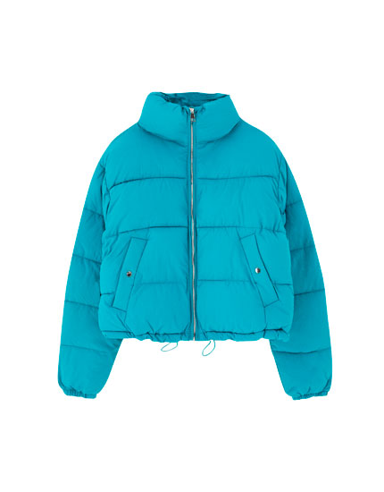 High collar puffer jacket
