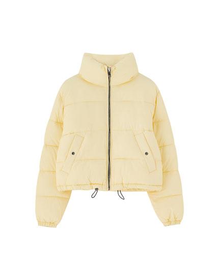 High collar puffer jacket