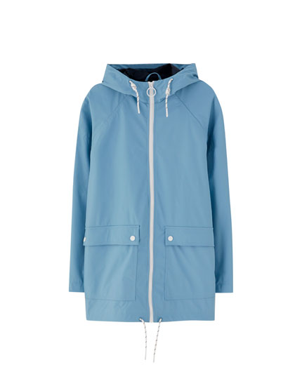 Coloured zip-up raincoat