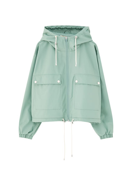 Coloured raincoat with hood
