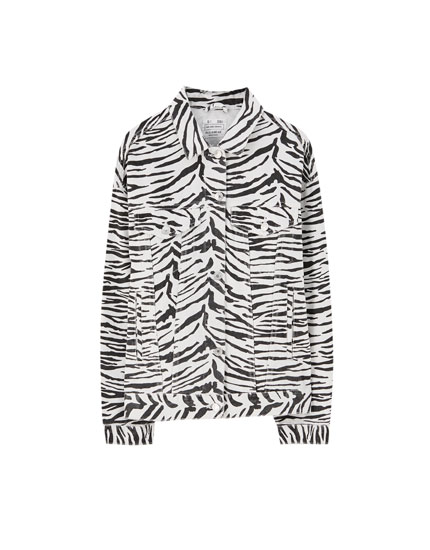 Geacă zebră din țesătură denim