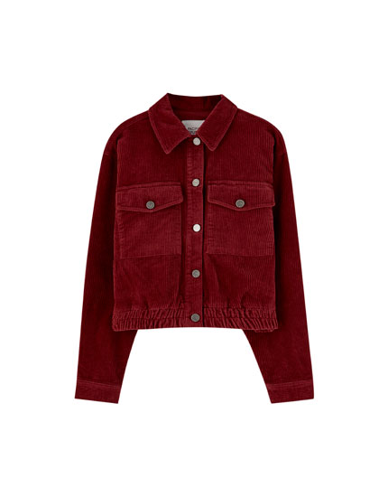 Corduroy jacket with elastic hem
