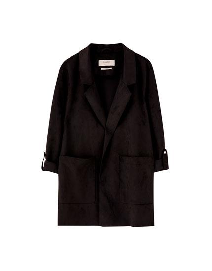 Jachetă din piele întoarsă cu buzunare