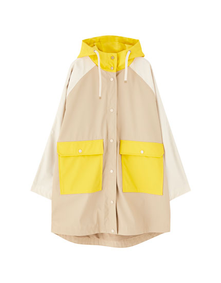 Oversized multicoloured raincoat