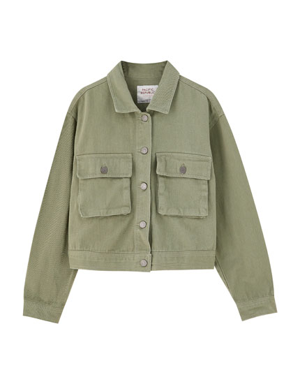 Khaki worker jacket with pockets
