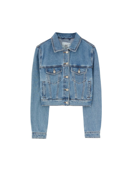 Cropped coloured denim jacket