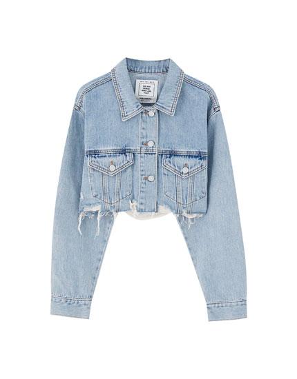 Cropped jeansjack met rafelzoom