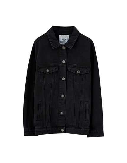 Black denim jacket with drop shoulders