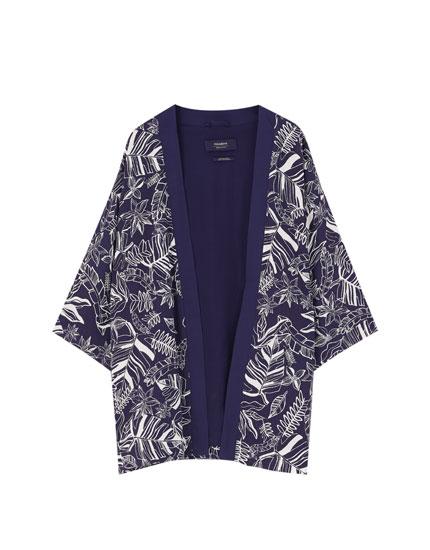 Short printed kimono