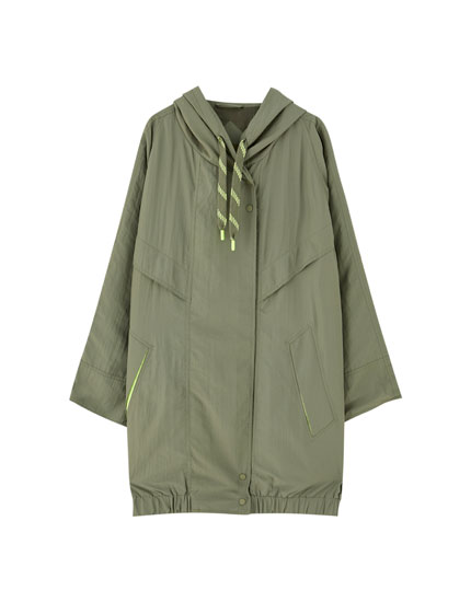 Parka larga nylon