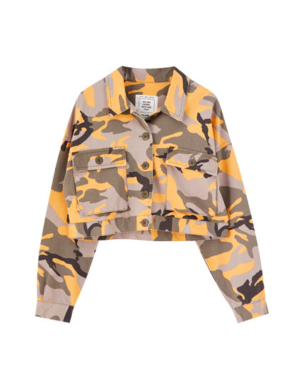 Orange camouflage denim jacket