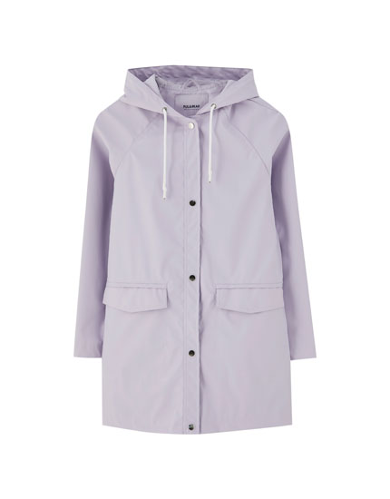 Hooded raincoat with pockets