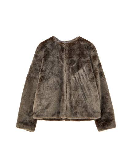Round neck faux fur jacket