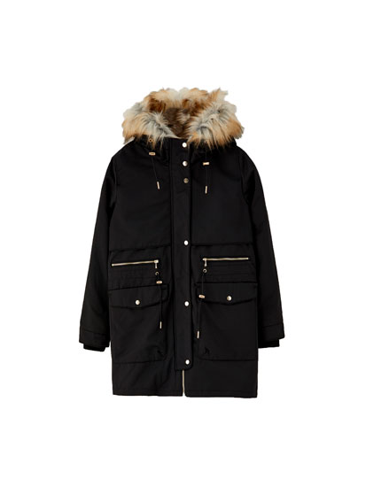 Long hooded parka with faux-fur trim