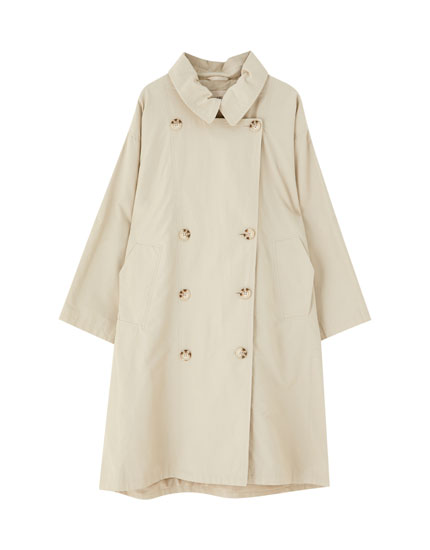Oversized trench coat with side vents