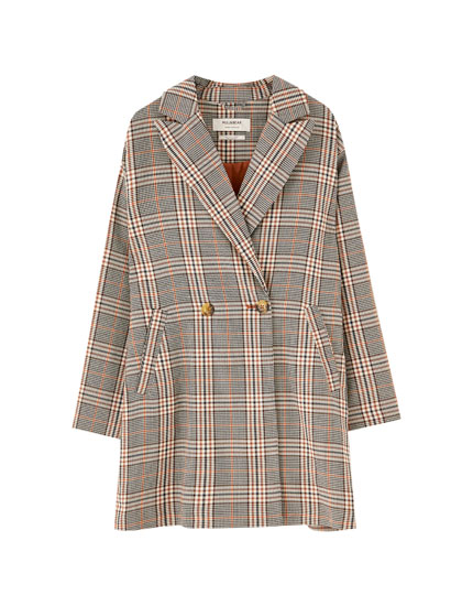 Two-button check coat