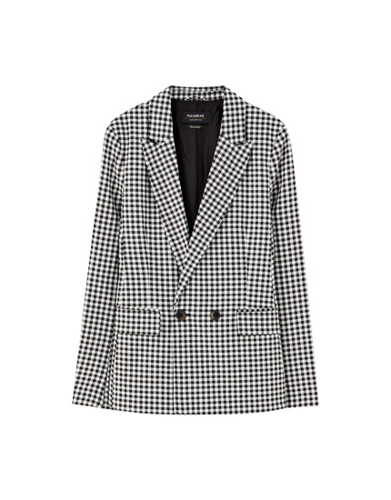 Gingham blazer with two buttons