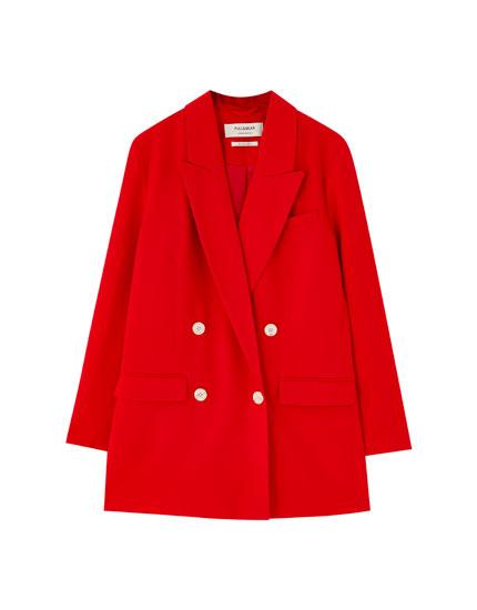 Red check four-button blazer
