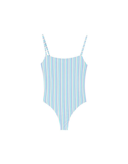 Straight neck striped swimsuit