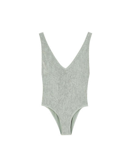 Coloured textured swimsuit with gathered detail