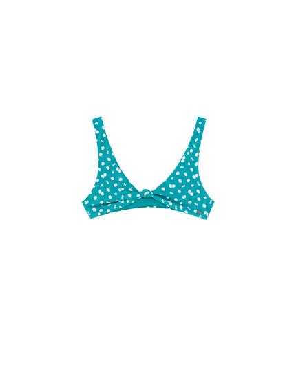 Turquoise floral bikini top