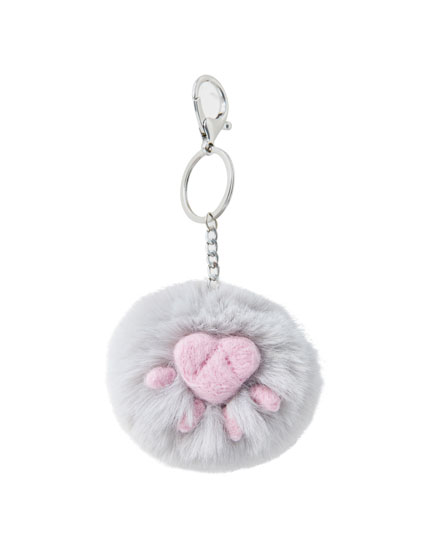 Faux fur cat paw key ring