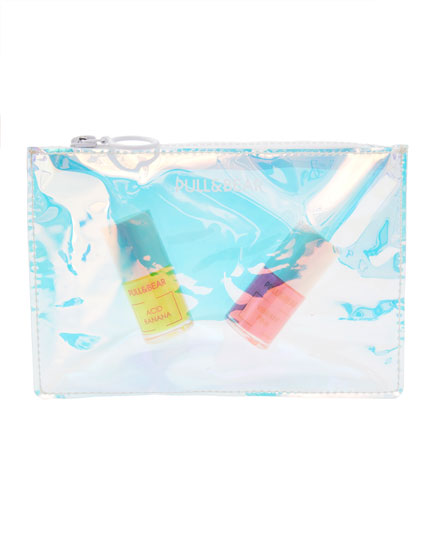 Zipped holographic toiletry bag