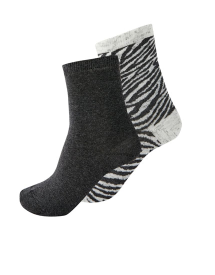 2-pack of zebra print socks