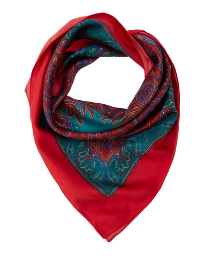 Red and turquoise paisley handkerchief