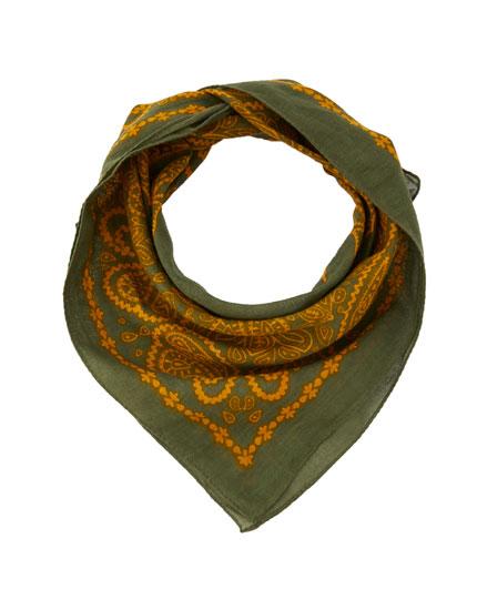 Mustard paisley print bandanna