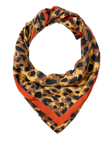 Russet and leopard print handkerchief