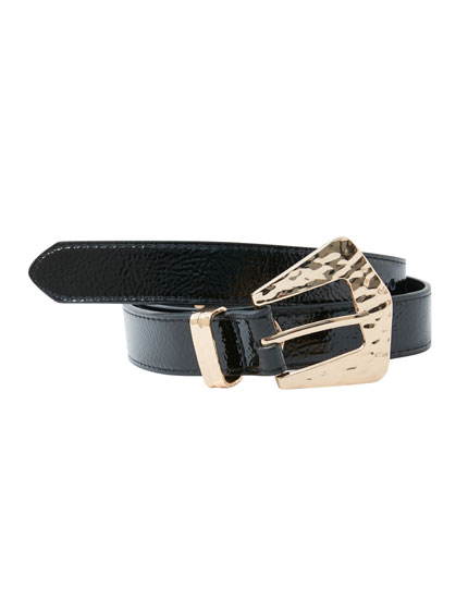 Black faux leather belt with studs