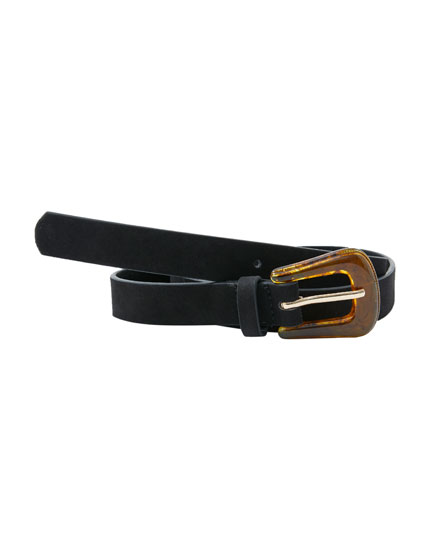 Belt with tortoiseshell buckle