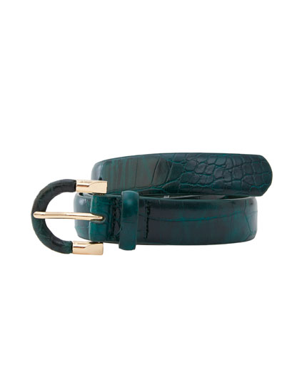 Green mock croc belt