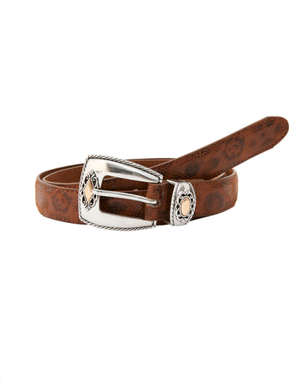 Buckled belt with cowboy details