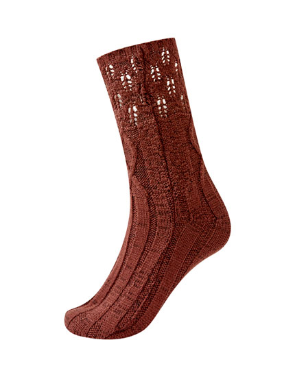 Chunky open knit socks