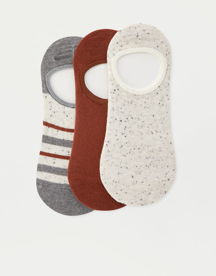 3-pack of short striped and plain socks
