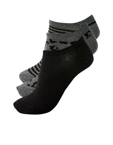 3-pack of leopard ankle socks