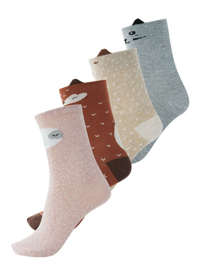 4-pack of animal motif socks