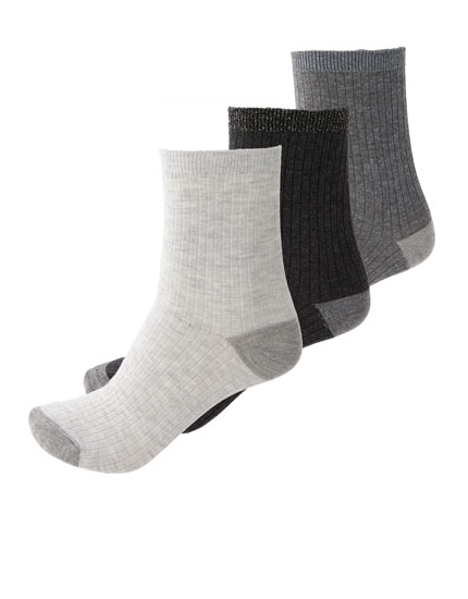3-pack of ribbed grey socks