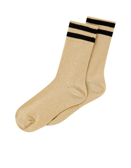 Striped gold sports socks