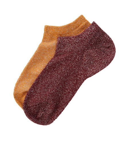 Pack of 2 metallic ankle socks