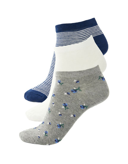 Pack of 3 floral print ankle socks