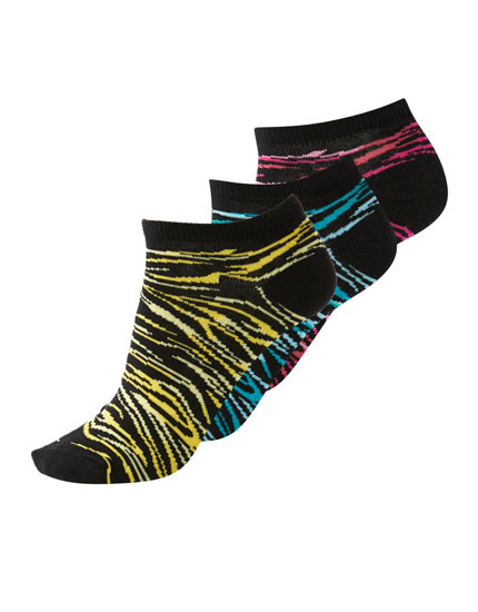 Pack of 3 multicoloured zebra print socks
