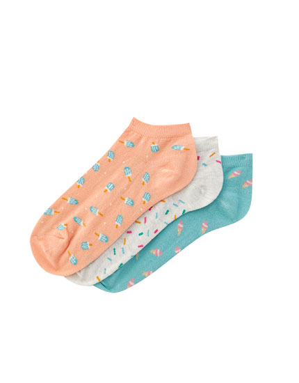 Pack of 3 ice cream print ankle socks